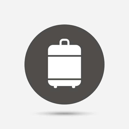 luggage bag: Travel luggage bag icon. Baggage symbol. Gray circle button with icon. Vector