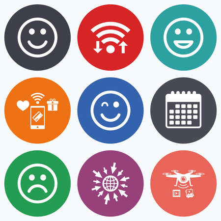 sorrowful: Wifi, mobile payments and drones icons. Smile icons. Happy, sad and wink faces symbol. Laughing lol smiley signs. Calendar symbol.