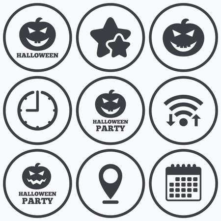hallows: Clock, wifi and stars icons. Halloween pumpkin icons. Halloween party sign symbol. All Hallows Day celebration. Calendar symbol.