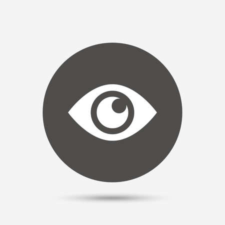 publish: Eye sign icon. Publish content button. Visibility. Gray circle button with icon. Vector