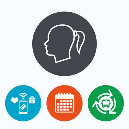 Head sign icon. Female woman human head with pigtail symbol. Mobile payments, calendar and wifi icons. Bus shuttle.