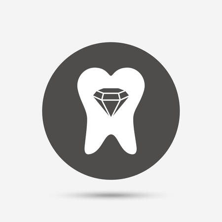 prestige: Tooth crystal icon. Tooth jewellery sign. Dental prestige symbol. Gray circle button with icon. Vector Illustration