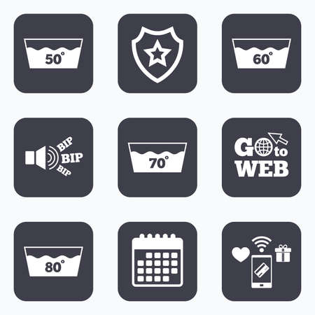 60 70: Mobile payments, wifi and calendar icons. Wash icons. Machine washable at 50, 60, 70 and 80 degrees symbols. Laundry washhouse signs. Go to web symbol.