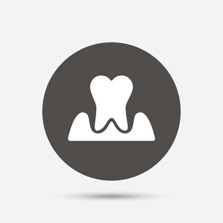 gingivitis: Parodontosis tooth icon. Gingivitis sign. Inflammation of gums symbol. Gray circle button with icon. Vector Illustration