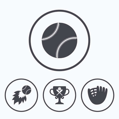 crosswise: Baseball sport icons. Ball with glove and two crosswise bats signs. Fireball with award cup symbol. Icons in circles. Illustration