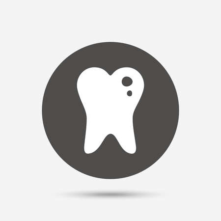 filling: Caries tooth icon. Tooth filling sign. Dental care symbol. Gray circle button with icon. Vector Illustration