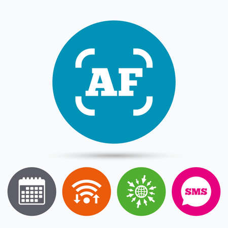 autofocus: Wifi, Sms and calendar icons. Autofocus photo camera sign icon. AF Settings symbol. Go to web globe.