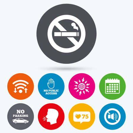 private access: Wifi, like counter and calendar icons. Stop smoking and no sound signs. Private territory parking or public access. Cigarette and hand symbol. Human talk, go to web. Illustration