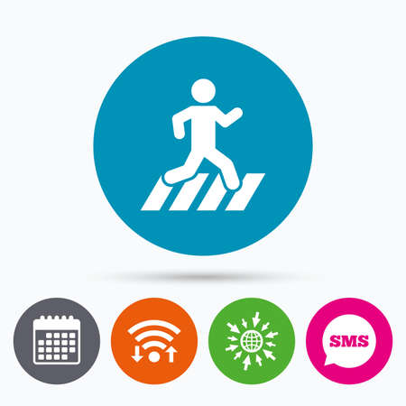 crossing street: Wifi, Sms and calendar icons. Crosswalk icon. Crossing street sign. Go to web globe.