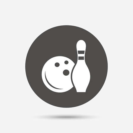 skittle: Bowling game sign icon. Ball with pin skittle symbol. Gray circle button with icon. Vector