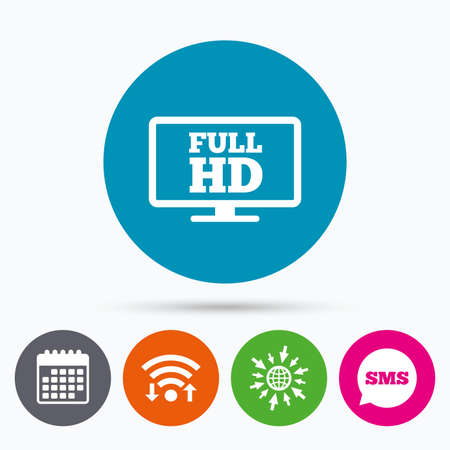 full hd: Wifi, Sms and calendar icons. Full hd widescreen tv sign icon. High-definition symbol. Go to web globe.