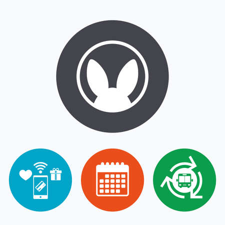 tested: No animals testing sign icon. Not tested symbol. Mobile payments, calendar and wifi icons. Bus shuttle.