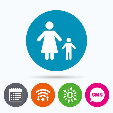 one child: Wifi, Sms and calendar icons. One-parent family with one child sign icon. Mother with son symbol. Go to web globe.