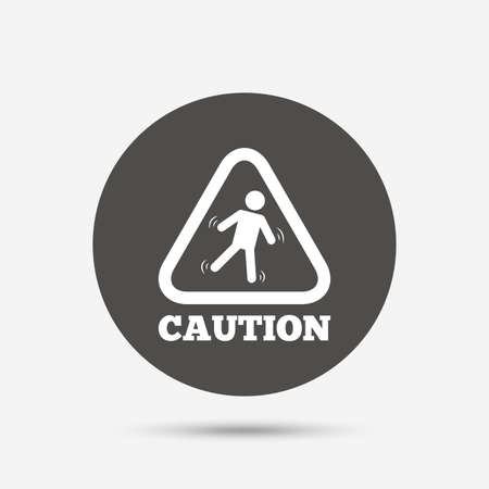 wet floor caution sign: Caution wet floor sign icon. Human falling triangle symbol. Gray circle button with icon. Vector