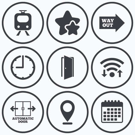 way out: Clock, wifi and stars icons. Train railway icon. Automatic door symbol. Way out arrow sign. Calendar symbol.
