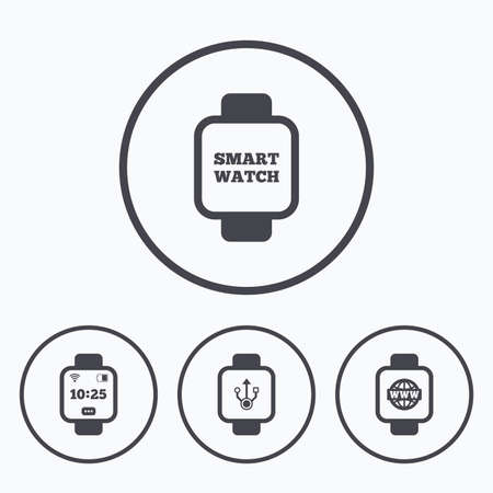 www arm: Smart watch icons. Wrist digital time watch symbols. USB data, Globe internet and wi-fi signs. Icons in circles. Illustration