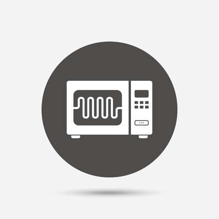 microwave stove: Microwave oven sign icon. Kitchen electric stove symbol. Gray circle button with icon. Vector