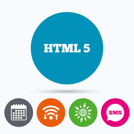 html5: Wifi, Sms and calendar icons. HTML5 sign icon. New Markup language symbol. Go to web globe.