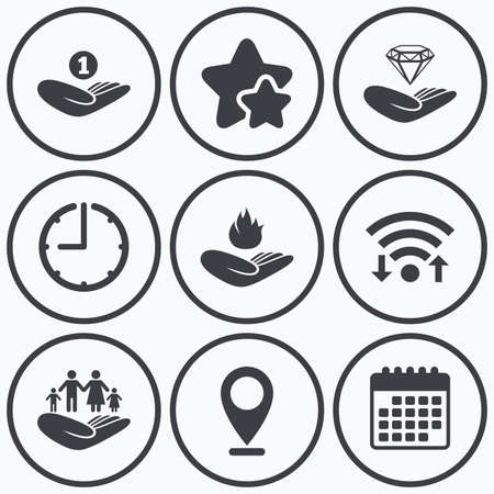 best shelter: Clock, wifi and stars icons. Helping hands icons. Financial money savings, family life insurance symbols. Diamond brilliant sign. Fire protection. Calendar symbol.