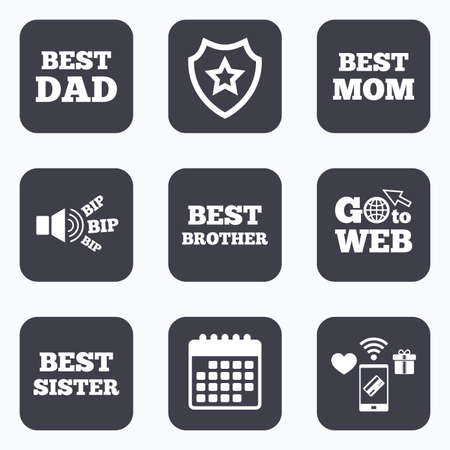 Mobile Payments Wifi And Calendar Icons Best Mom And Dad Brother