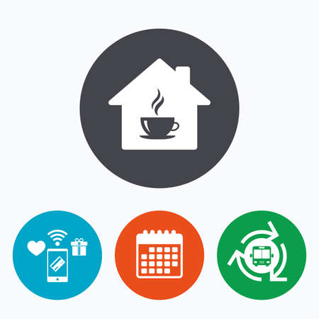 wifi: Coffee shop icon. Hot coffee cup sign. Hot tea drink with steam. Mobile payments, calendar and wifi icons. Bus shuttle. Illustration