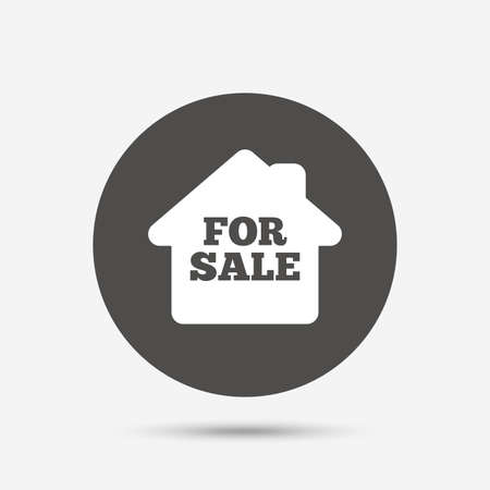for sale sign: For sale sign icon. Real estate selling. Gray circle button with icon. Vector Illustration