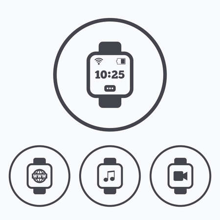 watch video: Smart watch icons. Wrist digital time watch symbols. Music, Video, Globe internet and wi-fi signs. Icons in circles. Illustration