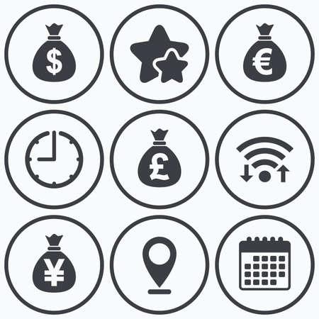 money symbol: Clock, wifi and stars icons. Money bag icons. Dollar, Euro, Pound and Yen symbols. USD, EUR, GBP and JPY currency signs. Calendar symbol.