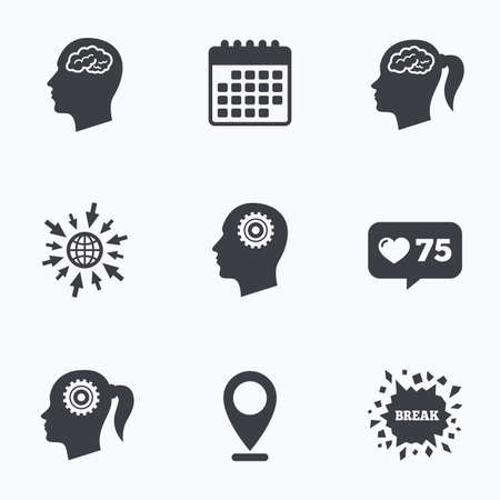 pigtail: Calendar, like counter and go to web icons. Head with brain icon. Male and female human think symbols. Cogwheel gears signs. Woman with pigtail. Location pointer.