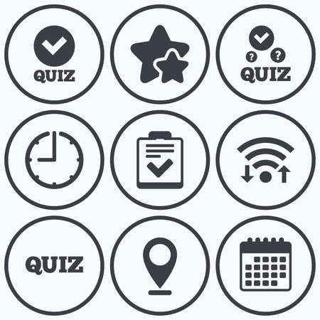 poll: Clock, wifi and stars icons. Quiz icons. Checklist with check mark symbol. Survey poll or questionnaire feedback form sign. Calendar symbol. Illustration