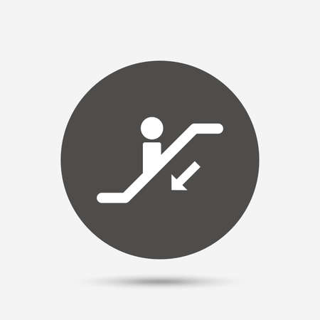 moving down: Escalator staircase icon. Elevator moving stairs down symbol. Gray circle button with icon. Vector