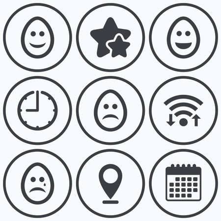 pasch: Clock, wifi and stars icons. Eggs happy and sad faces icons. Crying smiley with tear symbols. Tradition Easter Pasch signs. Calendar symbol.
