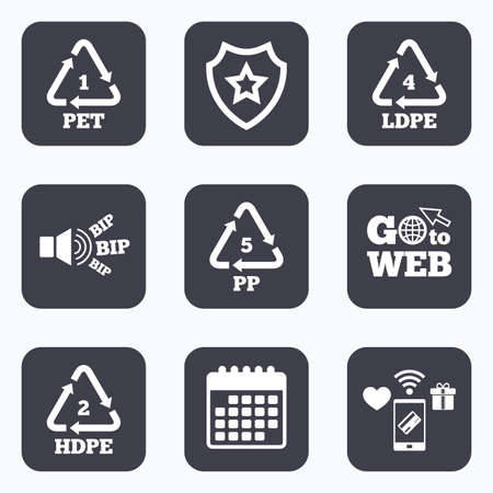 pp: Mobile payments, wifi and calendar icons. PET 1, Ld-pe 4, PP 5 and Hd-pe 2 icons. High-density Polyethylene terephthalate sign. Recycling symbol. Go to web symbol.