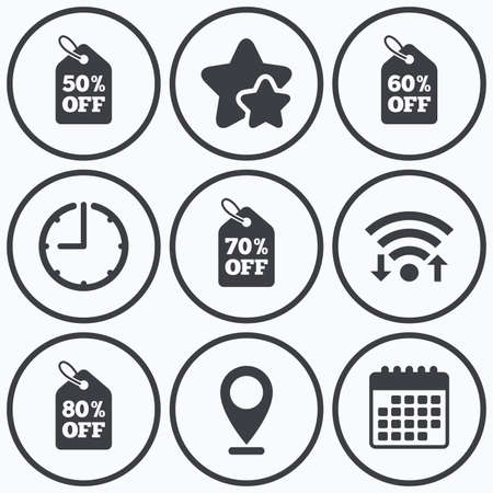 60 70: Clock, wifi and stars icons. Sale price tag icons. Discount special offer symbols. 50%, 60%, 70% and 80% percent off signs. Calendar symbol.