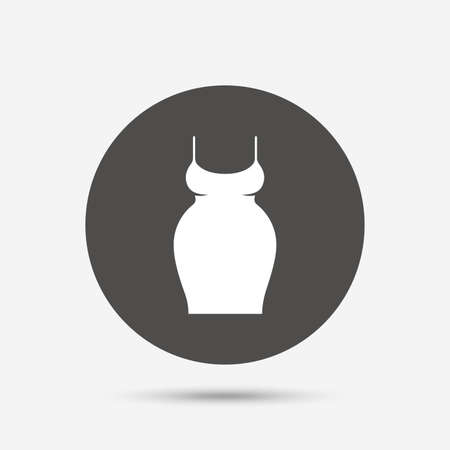 big breast: Pregnant woman dress sign icon. Maternity clothing symbol Gray circle button with icon. Vector