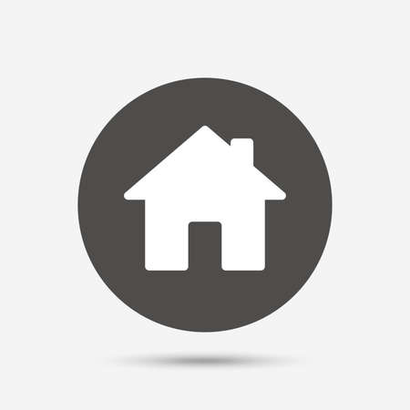 main: Home sign icon. Main page button. Navigation symbol. Gray circle button with icon. Vector Illustration