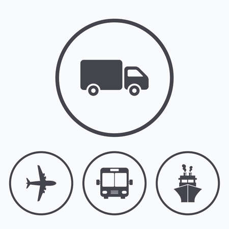 mail truck: Transport icons. Truck, Airplane, Public bus and Ship signs. Shipping delivery symbol. Air mail delivery sign. Icons in circles. Illustration