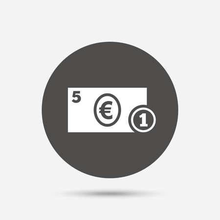 euro money: Cash sign icon. Euro Money symbol. EUR Coin and paper money. Gray circle button with icon. Vector