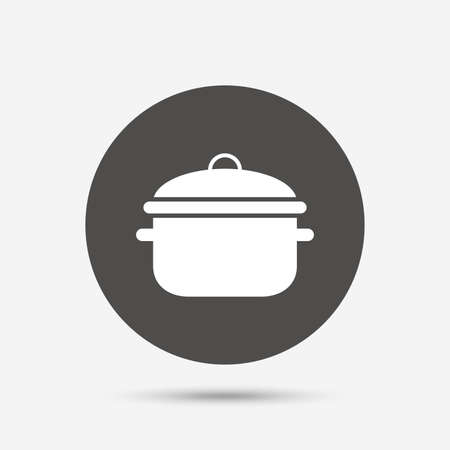 boil: Cooking pan sign icon. Boil or stew food symbol. Gray circle button with icon. Vector Illustration