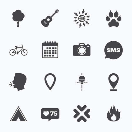 clutches: Calendar, go to web and like counter. Tourism, camping icons. Fishing, fire and bike signs. Guitar music, photo camera and paw with clutches. Sms speech bubble, talk symbols.