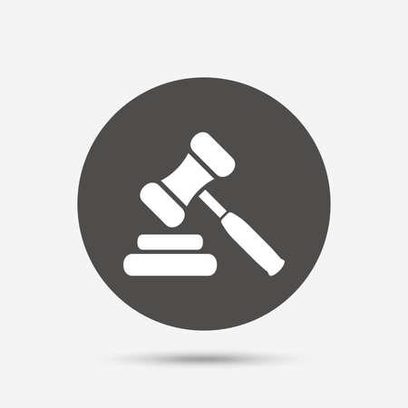 Auktion Hammer-Symbol. Law Richter Hammer-Symbol. Grauer Kreis-Schaltfläche mit Symbol. Vektor