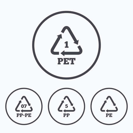 pp: PET 1, PP-pe 07, PP 5 and PE icons. High-density Polyethylene terephthalate sign. Recycling symbol. Icons in circles.