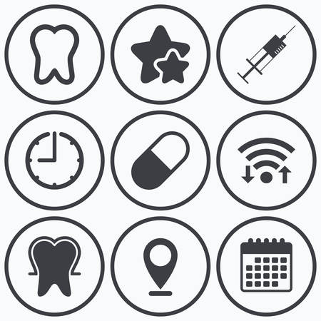 enamel: Clock, wifi and stars icons. Tooth enamel protection icons. Medical syringe and pill signs. Medicine injection symbol. Calendar symbol.