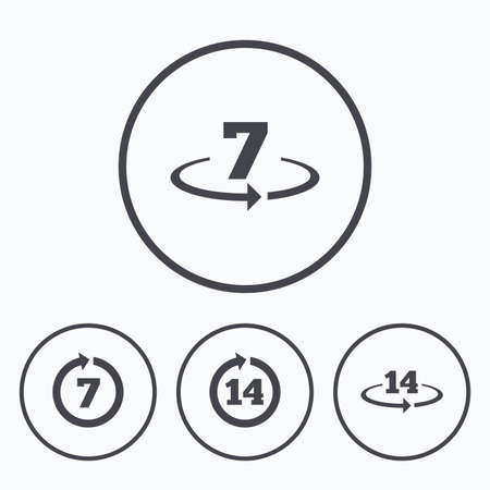 weeks: Return of goods within 7 or 14 days icons. Warranty 2 weeks exchange symbols. Icons in circles.