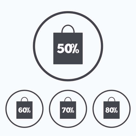 60 70: Sale bag tag icons. Discount special offer symbols. 50%, 60%, 70% and 80% percent discount signs. Icons in circles. Illustration