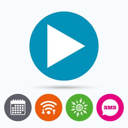 next button: Wifi, Sms and calendar icons. Arrow sign icon. Next button. Navigation symbol. Go to web globe.