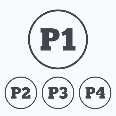 second floor: Car parking icons. First, second, third and four floor signs. P1, P2, P3 and P4 symbols. Icons in circles. Illustration