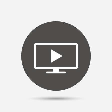 television set: Widescreen TV mode sign icon. Television set symbol. Gray circle button with icon. Vector