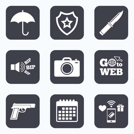 edged: Mobile payments, wifi and calendar icons. Gun weapon icon.Knife, umbrella and photo camera signs. Edged hunting equipment. Prohibition objects. Go to web symbol.