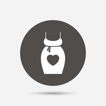 big breast: Pregnant woman dress sign icon. Maternity with heart clothing symbol Gray circle button with icon. Vector